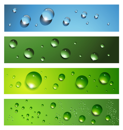 Banners, headers with dew, water drops Vector