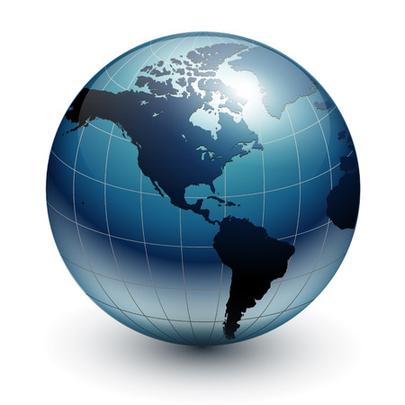 Earth globe, world glossy Ilustracja