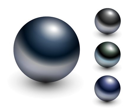 ベアリング: クローム球 - 金属の光沢のあるボール。  イラスト・ベクター素材