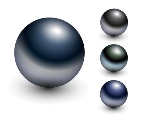Chrome sphere - metallic glossy balls. Stock Vector - 7201440