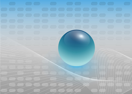 abstract background silver with blue glossy sphere, vector. Vector