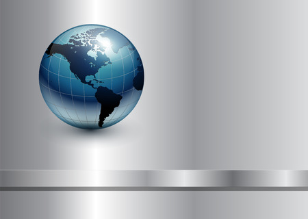 virtual world: Abstract business background with blue earth world on silver metallic. Illustration