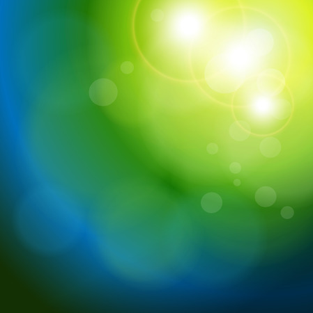 blue and green background: Abstract background blue green blurry lights. Illustration