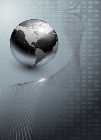 globe abstract: business background, grey with world globe Illustration