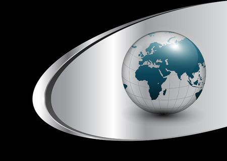 virtual world: Business background with world globe silver, black.