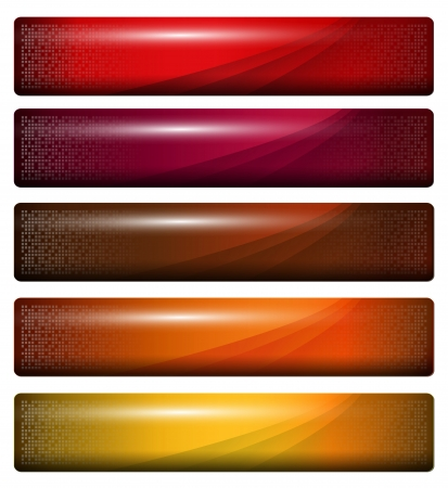 banners, headers glossy orange red  Vector