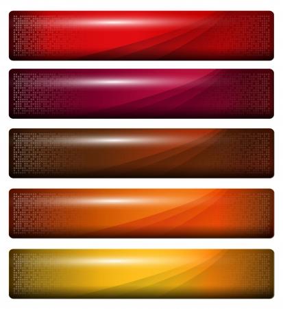 web header: banners, rojo anaranjado brillante de encabezados  Vectores