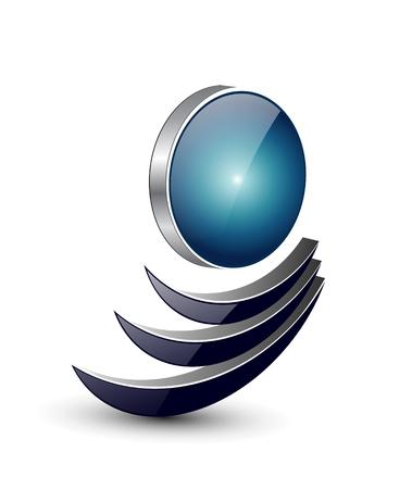 Logo abstract dynamische vorm, zwart en blauw.