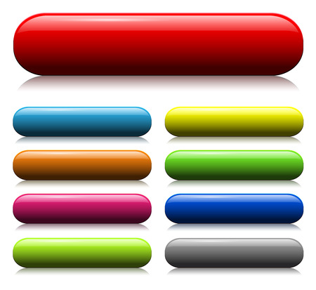 bouton brillant: jeu de boutons web verre color�  Illustration