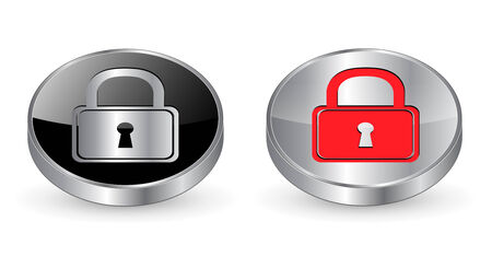 Padlock, secure icon, button. 3d metallic. Vector