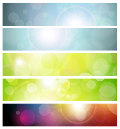 Banners, headers abstract lights Vector