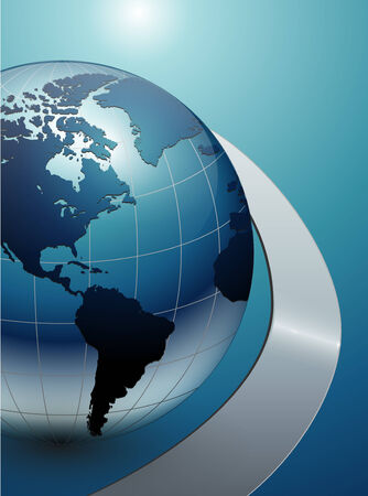 business background blue with earth globe Vector