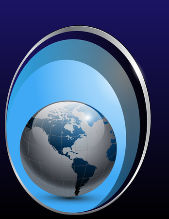 vector business background blue with earth globe Stock Vector - 7392479