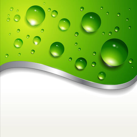 abstract background with water drops on green. Stock Vector - 7392591