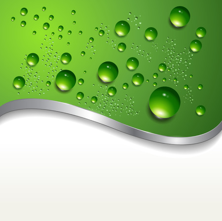 abstract background with water drops on green. Stock Vector - 7392596
