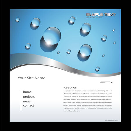 net bar: Website template with water drops, editable vector