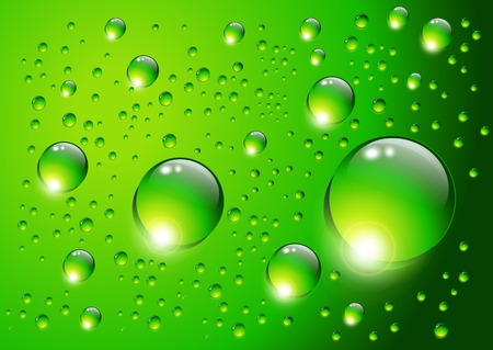 Water drops on green background Stock Vector - 7440181