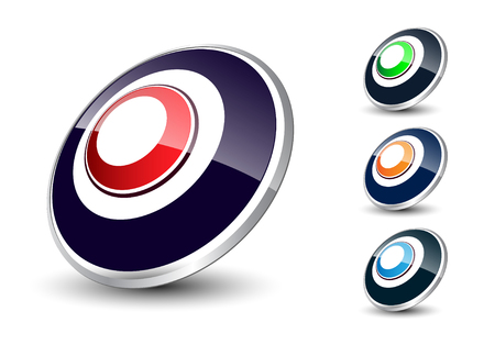 elipse: Logo 3d ellipse, glossy with metallic element Ilustra��o