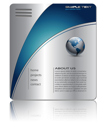 Business website template silver metallic Stock Vector - 7494122