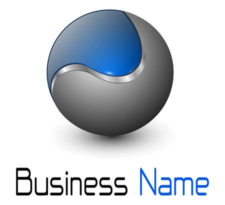 icons logo: Logo gl�nzend metallisch Sph�re mit blau-element