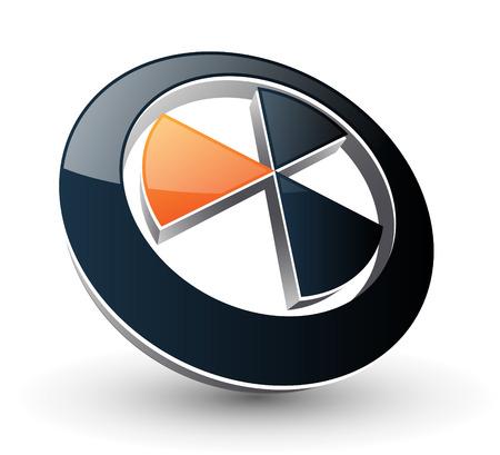 radiacion: Logotipo de signo abstracto negro y naranja