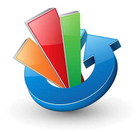 Logo, dynamic arrow with diagram.