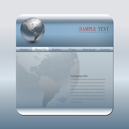 Business website template silver blue Vector