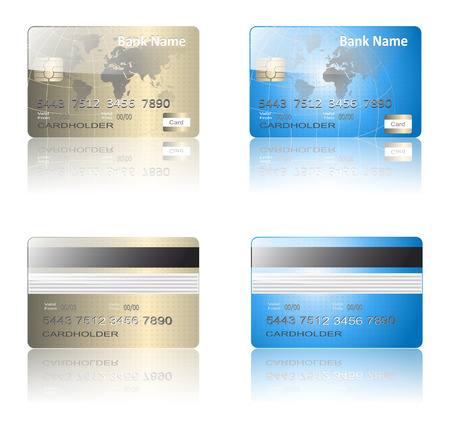 Realistic credit cards gold and blue, vector. Illustration