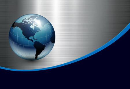 blue metallic background: Abstract business background with blue earth world on silver metallic. Illustration