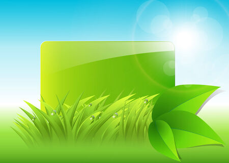 abstract background with green grass and leaves Vector