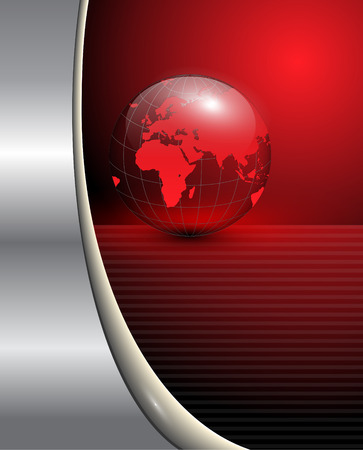 red metallic: Abstract business background with red earth globe