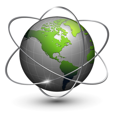 satelite: Globo de tierra con �rbitas alrededor de  Vectores