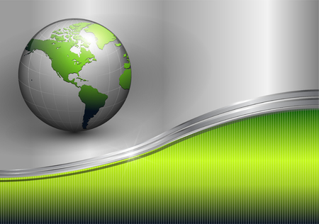 Business background, metallic green with earth globe