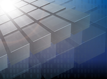 metallic  sun: Abstract background 3d cubes over blue Illustration