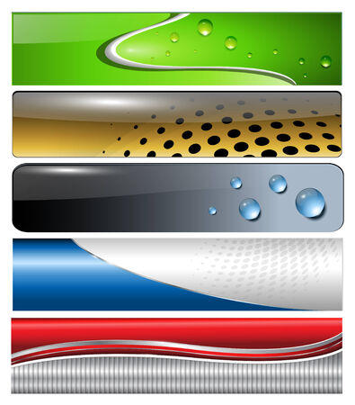 metallic banners: Banners, headers colorful collection Illustration