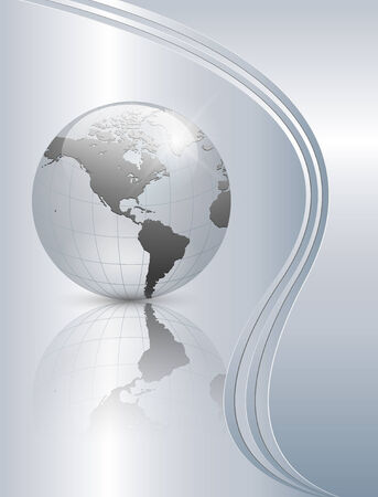 reflection in mirror: Abstract business background elegant silver with earth globe.