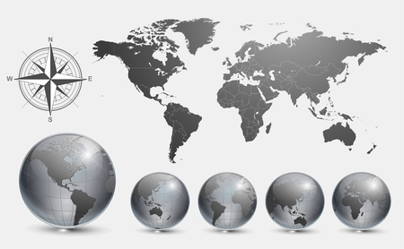 pacific ocean: Globes with world map Illustration