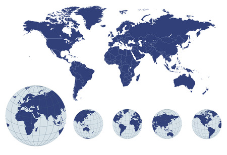 geography map: World map with earth globes