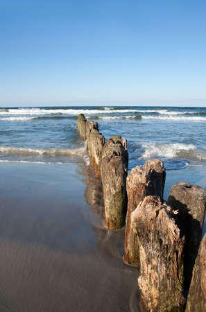 breakwater: Madera rompeolas, mar B�ltico  Foto de archivo