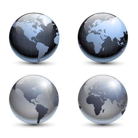 weltkugel asien: Earth Globen Auflistung  Illustration