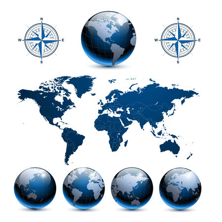 Earth globes with detailed world map