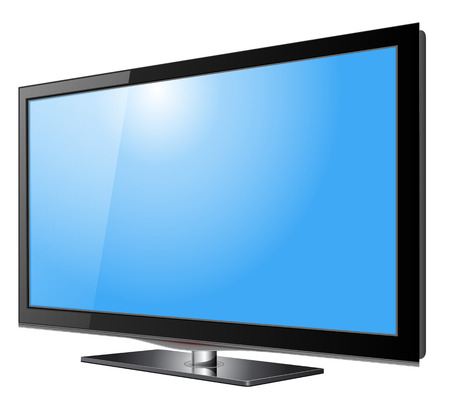 lcd display: Flat screen tv lcd, plasma realistic illustration.