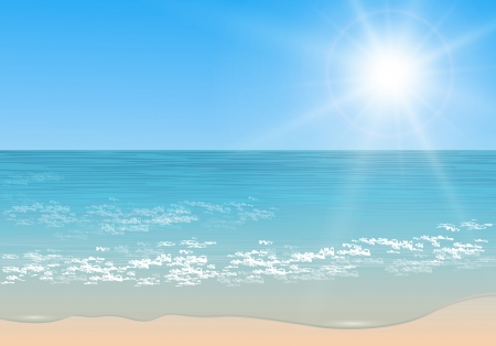 Beach and tropical sea with sun, Vector