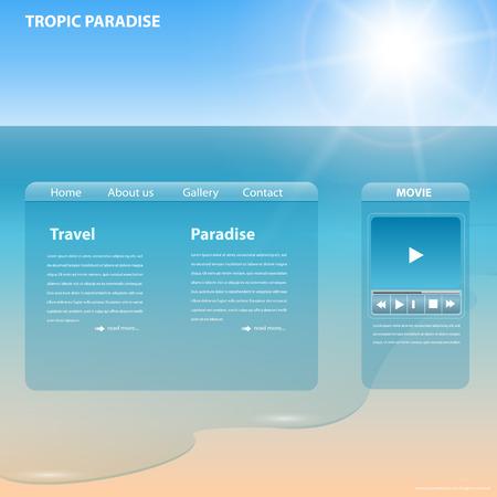 website window: Website template tropical beach theme, editable  Illustration