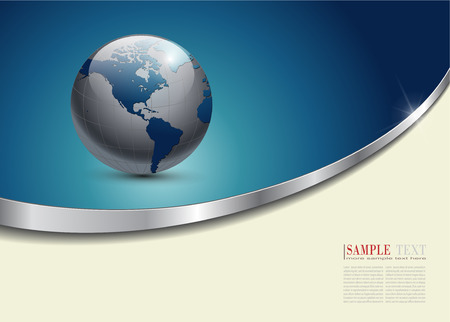 blue line: Business background blue with planet earth,  Illustration
