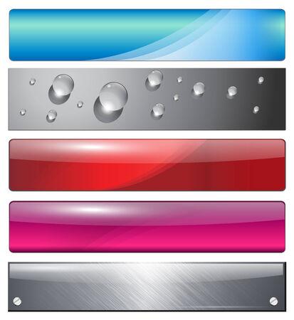 Banners, encabezados coloridos abstracción conjunto  Ilustración de vector