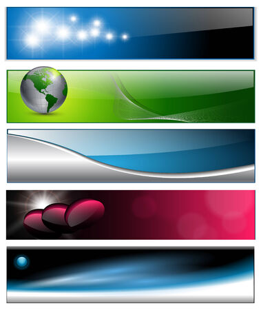 header label: Banners, headers colorful abstract set  Illustration