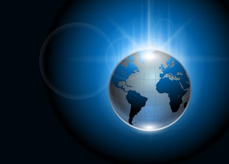 抽象的な背景が青い光る地球グローブ  イラスト・ベクター素材