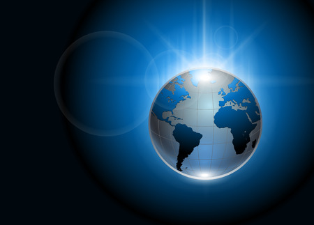 Abstract background blue glowing earth globe