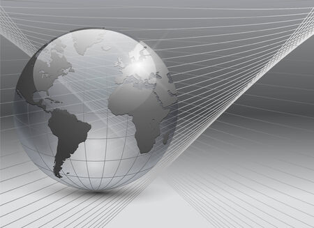 globe grid: abstract business background grey with transparent earth globe  Illustration